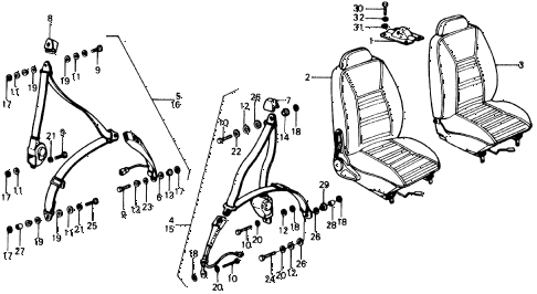 1976 civic **(1500) 3 DOOR 4MT FRONT SEAT - SEAT BELT diagram