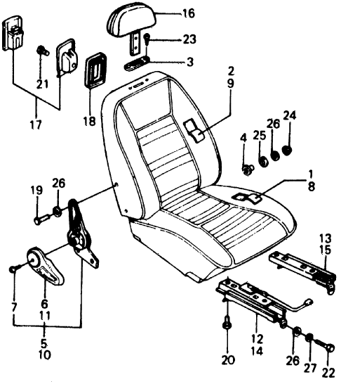 1976 civic **(1500) 3 DOOR 5MT FRONT SEAT COVER - FRONT SEAT HARDWARE diagram