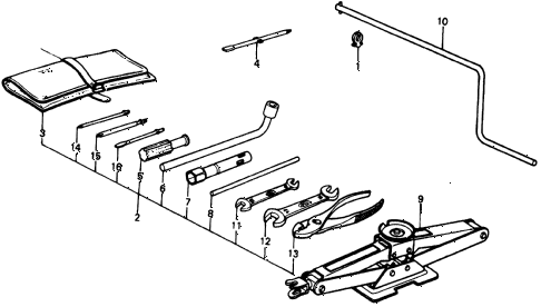 1977 civic **(1500) 2 DOOR 4MT TOOLS diagram