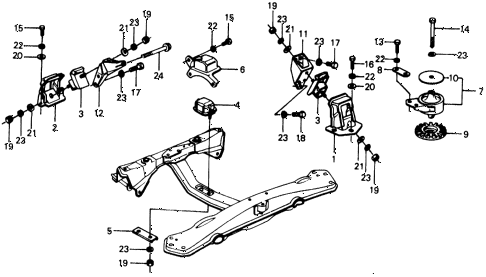 1975 civic **(1500) 2 DOOR HMT ENGINE MOUNT diagram