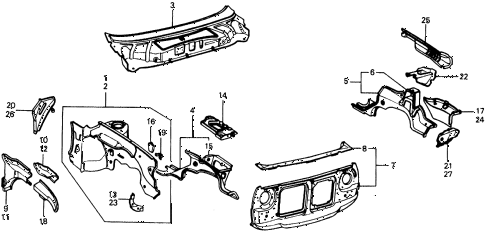 1977 civic **(1500) 2 DOOR 4MT BODY STRUCTURE COMPONENTS (1) diagram