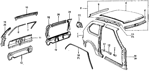 1976 civic **(1500) 2 DOOR HMT BODY STRUCTURE COMPONENTS (2) diagram