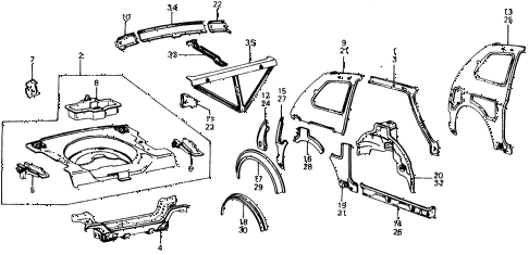 1976 civic **(1500) 3 DOOR 4MT BODY STRUCTURE COMPONENTS (3) diagram