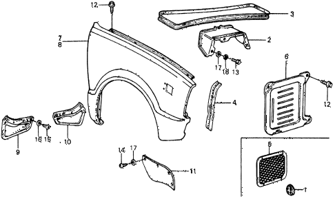 1977 civic **(1500) 3 DOOR 4MT FRONT FENDER diagram