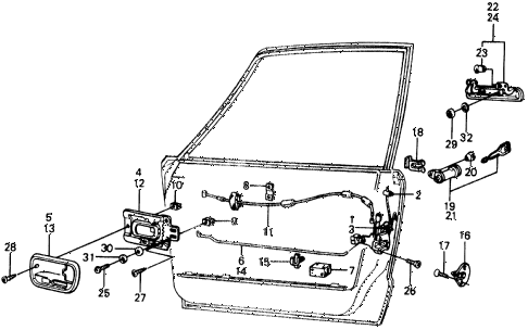 1976 civic **(1500) 3 DOOR 5MT DOOR LOCK diagram