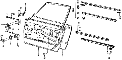 1975 civic **(1500) 3 DOOR HMT DOOR PANEL diagram