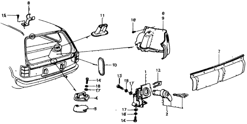 1975 civic **(1500) 3 DOOR HMT TAILGATE TRIM - TAILGATE LOCK diagram