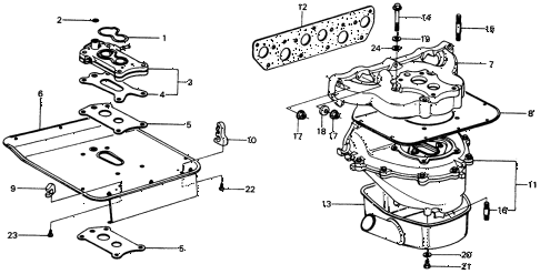 1976 civic **(1500) 2 DOOR 4MT CARBURETOR INSULATOR  - MANIFOLD (