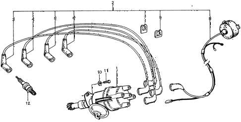1975 civic **(1500) 3 DOOR 4MT DISTRIBUTOR - SPARK PLUG diagram