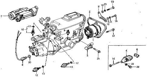 1976 civic **(1500) 2 DOOR HMT STARTER - ALTERNATOR - SENSOR diagram
