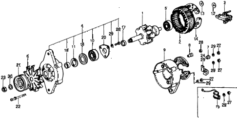 1977 civic **(1500) 3 DOOR HMT ALTERNATOR COMPONENTS diagram
