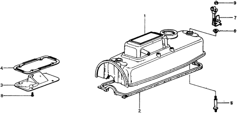 1976 civic **(1500) 3 DOOR 4MT CYLINDER HEAD COVER diagram