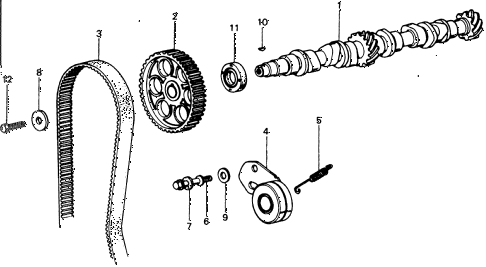 1977 civic **(1500) 3 DOOR HMT CAMSHAFT - TIMING BELT diagram