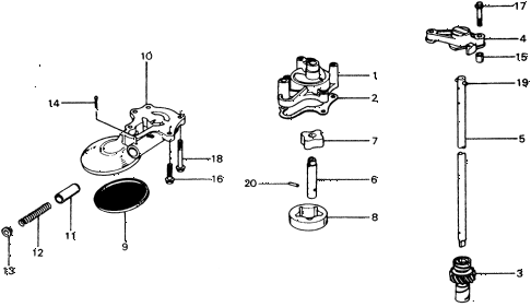 1975 civic **(1500) 3 DOOR 4MT OIL PUMP diagram