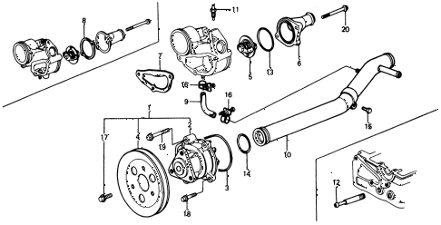 1975 civic **(1500) 3 DOOR 5MT WATER PUMP - THERMOSTAT diagram