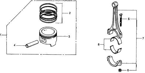 1975 civic **(1500) 3 DOOR 4MT PISTON - CONNECTING ROD diagram