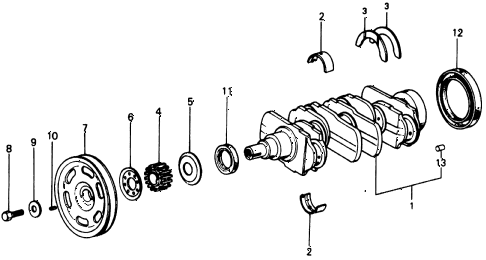 1976 civic **(1500) 3 DOOR HMT CRANKSHAFT diagram