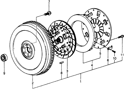 1977 civic **(1500) 3 DOOR 4MT MT CLUTCH diagram