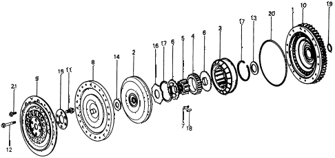 1976 civic **(1500) 3 DOOR HMT HMT TORQUE CONVERTER diagram