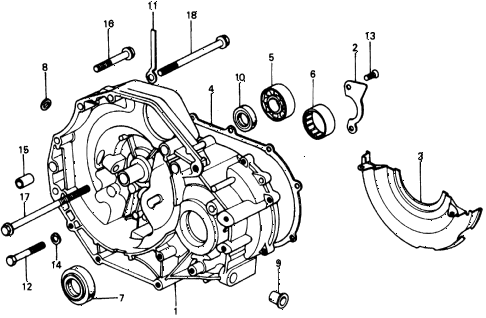 1976 civic **(1500) 2 DOOR 4MT MT CLUTCH HOUSING diagram