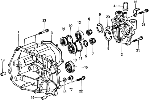 1977 civic **(1500) 2 DOOR 4MT 4MT TRANSMISSION HOUSING diagram