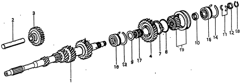 1977 civic **(1500) 3 DOOR 5MT 5MT MAINSHAFT - MAINSHAFT GEARS diagram
