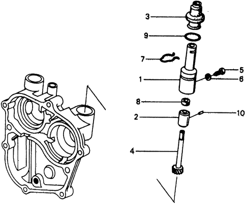 1975 civic **(1500) 3 DOOR 4MT MT SPEEDOMETER GEAR diagram