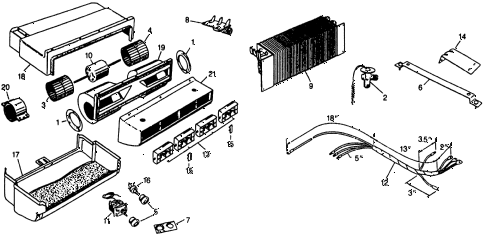 1977 civic **(1500) 3 DOOR HMT A/C EVAPORATOR - LOUVER  - ELECTRICAL (TYPE-1) diagram