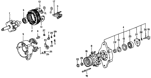 1975 civic **(1500) 3 DOOR 5MT ALTERNATOR COMPONENTS (45A) (FOR USE WITH A/C) diagram