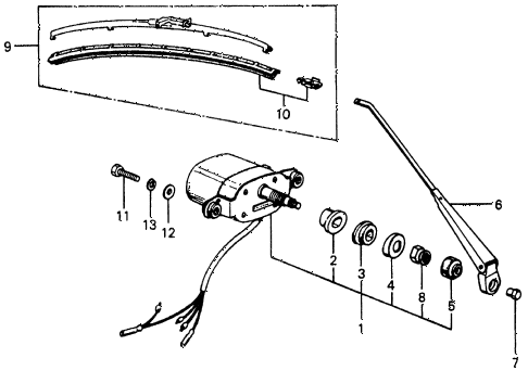 1975 civic **(1500) 3 DOOR 4MT REAR WINDOW WIPER MOTOR diagram