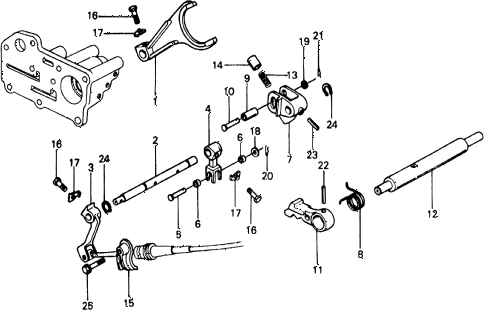1976 civic ** 5 DOOR HMT HMT SHIFT LEVER SHAFT diagram