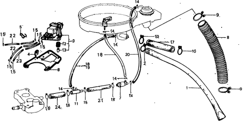 1977 civic ** 5 DOOR HMT AIR CLEANER TUBING diagram