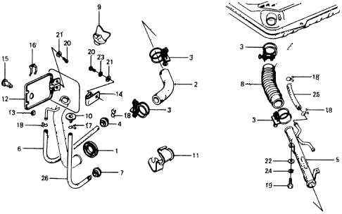 1977 civic ** 5 DOOR HMT FUEL PIPE - LID diagram