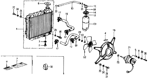 1976 civic ** 5 DOOR HMT RADIATOR diagram