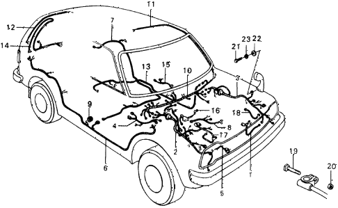 1977 civic ** 5 DOOR 4MT WIRE HARNESS diagram
