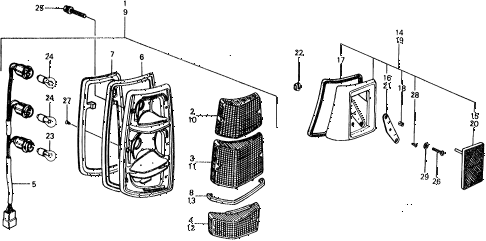 1977 civic ** 5 DOOR 4MT TAILLIGHT diagram