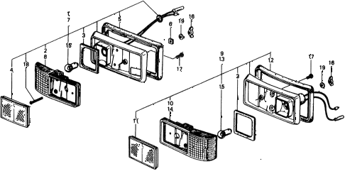 1976 civic ** 5 DOOR HMT FRONT @ REAR SIDE TURN SIGNAL LIGHT diagram