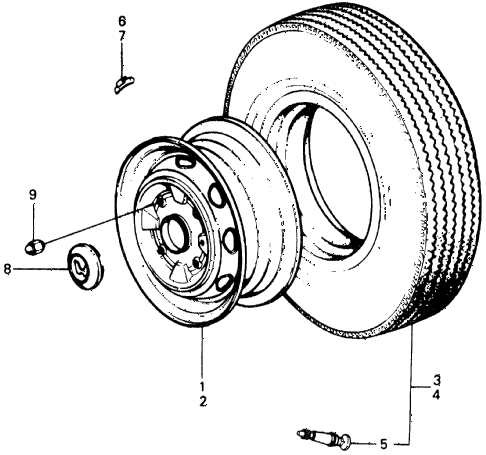 1977 civic ** 5 DOOR 4MT WHEEL DISK diagram