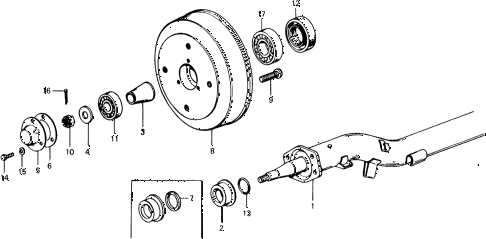 1977 civic ** 5 DOOR 4MT REAR BRAKE DRUM - AXLE BEAM diagram