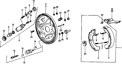 1975 civic ** 5 DOOR 4MT REAR BRAKE SHOE diagram