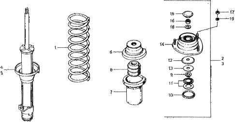 1976 civic ** 5 DOOR 4MT FRONT SHOCK ABSORBER diagram