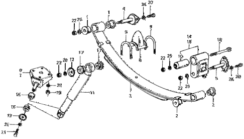 1975 civic ** 5 DOOR 4MT REAR SHOCK ABSORBER - REAR SPRING diagram