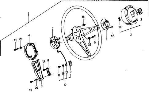 1975 civic ** 5 DOOR 4MT STEERING WHEEL diagram
