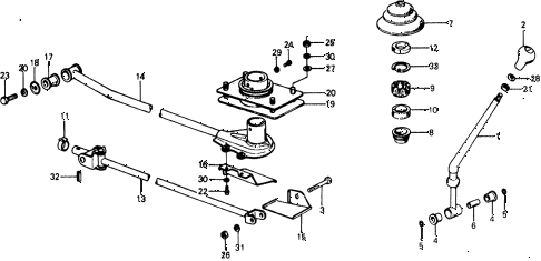 1975 civic ** 5 DOOR 4MT MT SHIFT LEVER diagram