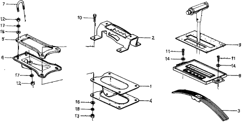 1976 civic ** 5 DOOR HMT HMT SELECTOR LEVER UNIT diagram