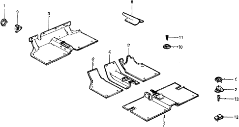 1976 civic ** 5 DOOR 4MT FLOOR MAT diagram