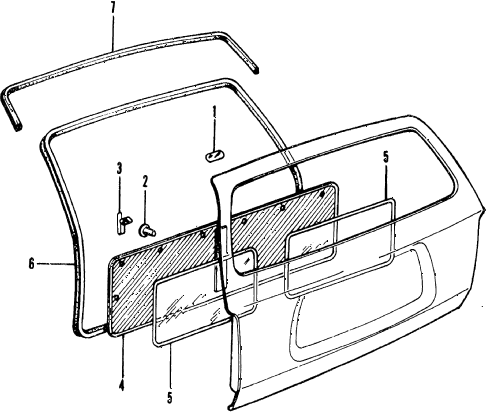 1977 civic ** 5 DOOR 4MT TAILGATE TRIM diagram
