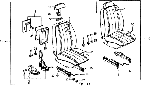 1976 civic ** 5 DOOR 4MT FRONT SEAT diagram