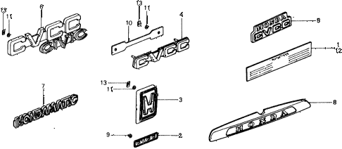 1977 civic ** 5 DOOR 4MT EMBLEMS diagram