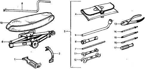 1976 civic ** 5 DOOR HMT TOOLS diagram
